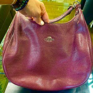Coach Burgandy Hobo Bag (Pebbled Leather)